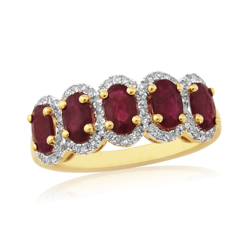 Yellow Gold Ruby And Diamond Eternity Dress Ring